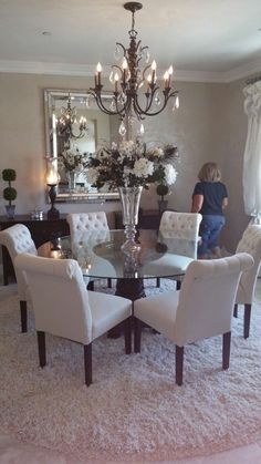 Elegant Dining Room Set – Home Interior Design Ideas Dining Room Design, Dining Room Table, Dining Rooms, Dinning Room Chandelier, Glass Round Dining Table, Formal Dining Table Centerpiece, Dinning Room Ideas, Circle Dining Table, Round Tables