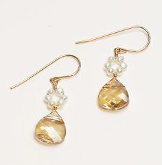 Golden Shadow Crystal Primrose Drop Earrings