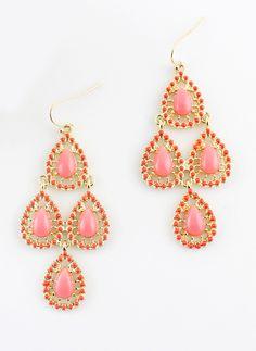 Pink Gemstone Gold Drop Dangle Earrings US$6.49