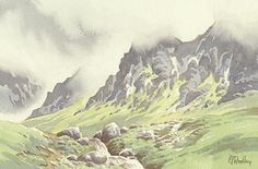Original watercolour painting by Peter Woolley Heads In The Clouds, Scafell (watercolor)