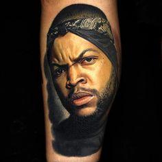 Ice Cube Tattoo by Nikko Hurtado icecube icecubetattoo rapper rappertattoo portrait portraittattoo gangsterrap musician musiciantattoo NikkoHurtado