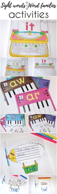 Are you looking for engaging, fun and easy-to-use activities to practice sight words or word families? Find various variants at CrazyCharizma store: typewriters, pianos, airships and much more!