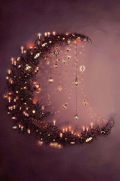 Moon and the stars.want to make some form of a crescent moon with sparkling~dangling stars. Moon Art, Moon Child, Stars And Moon, Sun Moon, Dark Moon, Fairy Lights, Belle Photo, Faeries, Fantasy Art