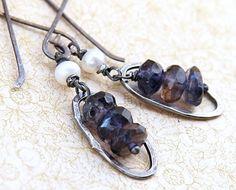 Denim Blue Iolite Earrings Oxidized Sterling Silver by TforEdgar