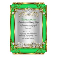 Princess Quinceanera 15th Birthday Green Lime 5x7 Paper Invitation Card