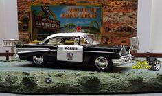 1:40 KINSMART 1957 CHEVROLET BEL AIR Police Car - Perfect for Diorama use #Kinsmart #Chevrolet