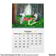 Year 2018 Calendar for Kids Kids Calendar, Young At Heart, Frame It, Art Posters, Personalized Products, 9 And 10, Amazing Art, Art For Kids, Kids Room