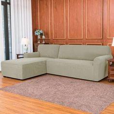 Ebern Designs L-Shaped Right 2 Piece Box Cushion Sofa Slipcover Set & Reviews | Wayfair Sectional Couch Cover, Couch Covers, Cushions On Sofa, Chaise Sofa, L Shaped Couch, Slipcovers For Chairs, Home Decor Shops, Texture Design, Fabric Sofa