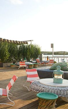 The Surf Lodge's 2,600-square-foot back deck is an all-day party on Montauk's Fort Pond.