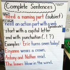 This anchor chart has been an awesome reference as my class works on complete sentences! They did a great job helping to think up the examples too! Incomplete Sentences, Writing Complete Sentences, Writing Mini Lessons, Paragraph Writing, Writing Sentences, Writing Ideas, Second Grade Writing, Teaching Second Grade, Third Grade