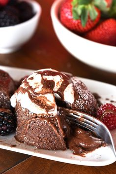 Serve immediately. Garnish with whatever your valentine loves most: whipped cream, ice cream, chocolate syrup, berries, or just some simple powdered sugar.