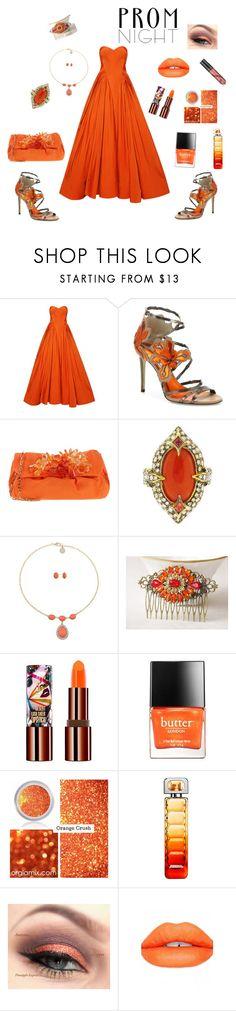 Orange Prom Dress by siriusfunbysheila1954 on Polyvore featuring Zac Posen, Jimmy Choo, P.A.R.O.S.H., Cathy Waterman, Liz Claiborne, Teeez, Sugarpill, BOSS Orange and Butter London