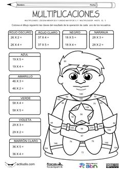Multiplicando dificultad media y multiplicador hasta el cinco 01bn Math Games, Math Activities, English For Beginners, Math Sheets, Kids Background, Kids Math Worksheets, English Activities, Sketch Markers, Future Classroom