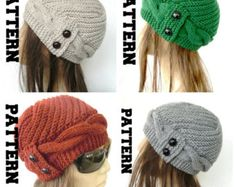 Knit Hats , Fabric Scarves and Knitting Patterns by Ebruk Knitting Stitches, Hand Knitting, Popular Hats, Winter Knit Hats, Cable Knit Hat, Cloche Hat, Crochet Round, Knit Patterns, Winter Knitting Patterns