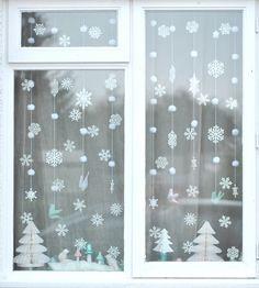 Copos nieve decoración ventana