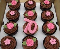 70th birthday chocolate cupcakes