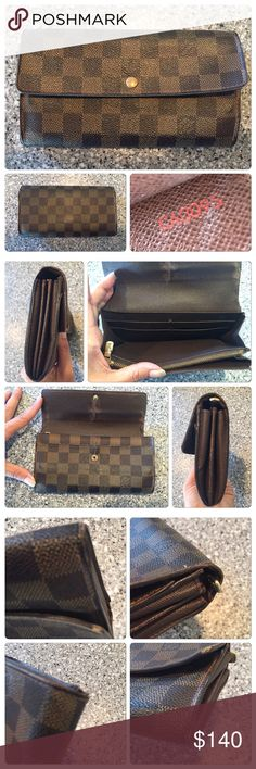 Louis Vuitton Damier Wallet Used and authentic Louis Vuitton wallet. This is done in Damier. Snap is slightly loose but still works fine. Edges has some damage and there is rubbing on the interior. All card slots and zippers work just fine. I don't do lowball offers. I list my items pretty much at what I want to sell them for. I always lost very reasonable prices. I never trade. So stop asking. Louis Vuitton Bags