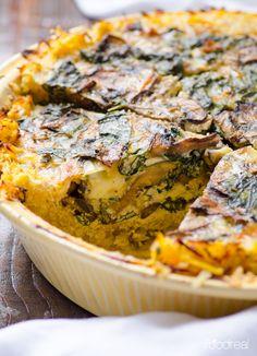 sliced-kale-mushrooms-spaghetti-squash-quiche-recipe