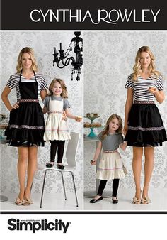 Simplicity 2351 Mother Daughter Cynthia Rowley Designer Apron Pattern - product image
