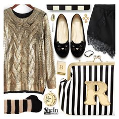 """""""Gold sweater weather"""" by pastelneon ❤ liked on Polyvore featuring Melie Bianco, Dolce&Gabbana, Kate Spade, Bey-Berk, Cartier, gold, black, stripes, Eclectic and shein"""