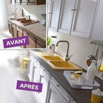 Sur Le Plan De Travail Beton Mineral Resinence S Applique Sur Faience Marbre Bois Naturel Melamine 39 90 Euros Castorama Homestagingavantapres Kitchen Renovation Home Staging Interior Architecture Design
