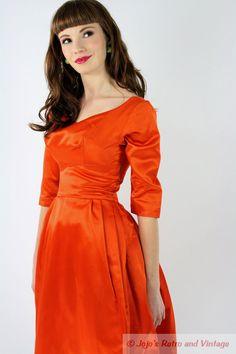 50s vintage orange satin dress with by JojosRetroandVintage, $ 180.00