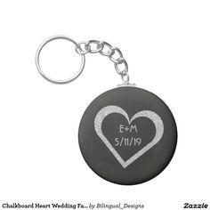 Chalkboard Heart Wedding Favor Keychain
