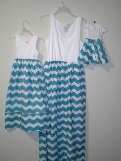 Mother, daughter and baby chevron striped matching set, women maxi dress,toddler maxi dress, baby onesies dress on Etsy, $70.00 so want these for me and the girls!!