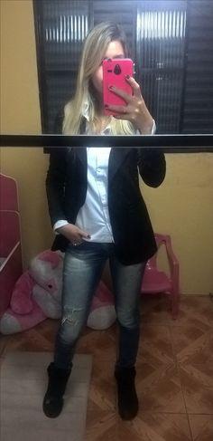 jeans + oxford + camisa branca + maxi blazer