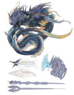 View an image titled 'Heritor of the Whorl, Leviathan Art' in our Final Fantasy XIV: Shadowbringers art gallery featuring official character designs, concept art, and promo pictures. Fantasy Concept Art, Fantasy Character Design, Dark Fantasy Art, Character Art, Final Fantasy Art, Creature Concept Art, Creature Design, Creature Feature, Mythical Creatures Art