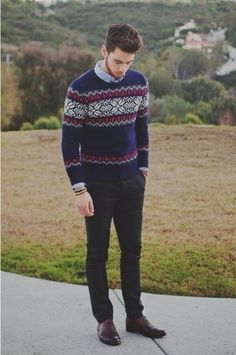 Men's Charcoal Dress Pants, Dark Brown Leather Oxford Shoes, Blue Chambray Longsleeve Shirt, and Navy Fair Isle Crew-neck Sweater