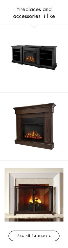 """""""Fireplaces and accessories  i like"""" by annies-place ❤ liked on Polyvore featuring home, home decor, fireplace accessories, black, black home decor, electric fireplace, wooden home decor, wood fireplace accessories, brown and wall mount electric fireplace"""