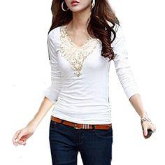 V-Neck Floral Pizzo Maglia a Manica Lunga T-Shirt - Donna Tops Blouse ( Bianco EU XS ) Minetom