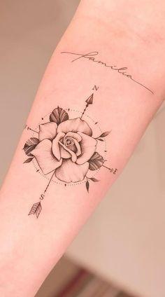 Rose Tattoos For Men, Hand Tattoos For Women, Sleeve Tattoos For Women, Tattoos For Guys, Tattoos For Couples, Family Tattoos For Men, Pretty Tattoos For Women, Women Sleeve, Mini Tattoos