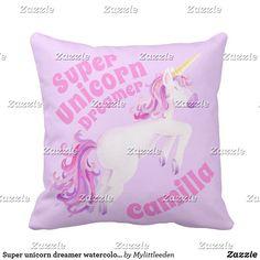 Super unicorn dreamer watercolor art girls pillow