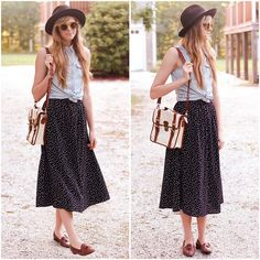 Love the: mid-calf skirt, casual front-tie crop top, and menswear accessories. A boho-Annie Hall.