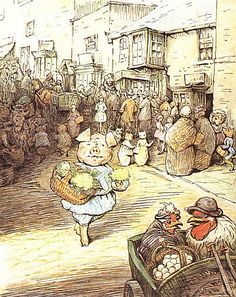 """From """"The Tale of Little Pig Robinson"""" by Beatrix Potter - """"There were crowds in the streets, as it was market day."""""""