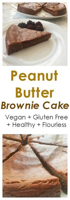 Healthy Flourless Peanut Butter Brownie Cake for a healthy dessert. Vegan + Gluten Free Today I wanted to share this simple recipe for peanut butter brownie cake. This recipe only contains 7 ingredients, is flourless, gluten free an suitable for vegans. To make you simply add all ingredients to a blender, blend until smooth, pour into a cake tin, bake and your done. #brownie #cake #peantbutter #paleo #flourless #healthy #vegan #recipe #glutenfree #plantbased #chocolate