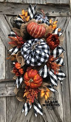 Excited to share this item with my # etsy store: Fall Wreath, Fall Swag, Autumn Sw … – garten – Wreaths Thanksgiving Wreaths, Autumn Wreaths, Holiday Wreaths, Wreath Fall, Pumpkin Wreath, Diy Thanksgiving Decorations, Bow Wreath, Black Wreath, Casa Halloween