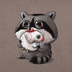 Raccoon & Chicken / Predator & Prey by Alex Solis Raccoon Drawing, Raccoon Art, Cartoon Cartoon, Cute Animal Drawings, Cute Drawings, Predator, Alex Solis, Raccoon Illustration, Kawaii Chibi