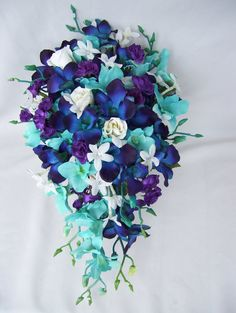Queen's Cascade Bridal Bouquet with Purple Spray Roses,Jade Turquoise Orchids and Hydrangeas, Stephanotis