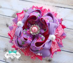 Floral Vintage Inspired OTT Hair Bow on Etsy, $14.50
