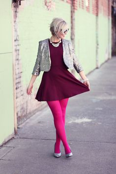 birthday outfit: merlot a-line dress // hot pink tights // metallic cracked heels Colored Tights Outfit, Pink Tights, Patterned Tights, Opaque Tights, Grunge Look, 90s Grunge, Grunge Girl, Nylons, In Pantyhose