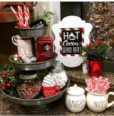 81 easy diy indoor christmas decor and display ideas page 38 Christmas Hot Chocolate, Hot Chocolate Bars, Christmas Coffee, Noel Christmas, Christmas Treats, Xmas, Adult Christmas Party, Indoor Christmas Decorations, Christmas Centerpieces