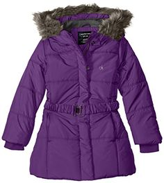 Calvin Klein Little Girls Artic 3/4 Length Puffer Coat, Dark Violet, 5 >>> You can find more details by visiting the image link.
