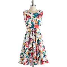 Mid-length Sleeveless Fit & Flare Hour by Flower Dress by ModCloth ($70) ❤ liked on Polyvore featuring plus size fashion, plus size clothing, plus size dresses, dresses, lullabies, apparel, fashion dress, multi, floral slip dress and floral sleeveless dress