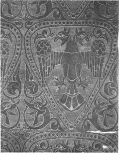 Doppeladlerstoff Baghdad, Iran 1220, Otto1, s.105, obr.163, Apollinarisschrein in Siegburg, tafel 38