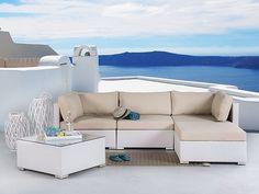 Sofá de ratán blanco - conjunto de jardín – mesa de café – SANO - 33312…