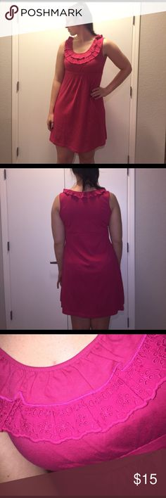 """Bass Dark Pink Dress detail around neck, I'm 6'4"""" & it comes about 4-5 inches above my knees, 100% cotton, worn once!! Bass Dresses"""