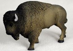 "Amazon.com: Custom & Unique {5"" Inch} 1 Single, Home & Garden ""Standing"" Figurine Decoration Made of Resin w/ Realistic North American Plains Buffalo Bison Style {Grey & Black Color}: Home & Kitchen"